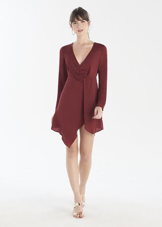 Maroon color Dresses . Full Sleeves Front Knot Dress -