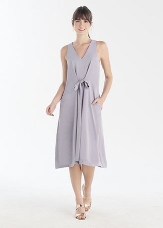 Grey color Dresses . Bow Neck Sleeveless Mini Dress -