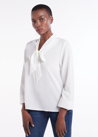 White color Tops and Tunics . Neck Tie Long Sleeves Top -