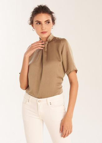 Olive color Tops and Tunics . Half Sleeves Neck Tie Up Top -