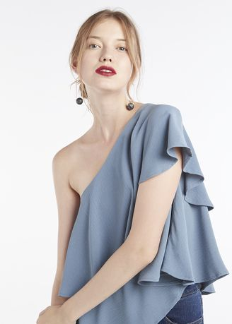 Light Blue color Tops and Tunics . Off The Shoulder Frill Top -