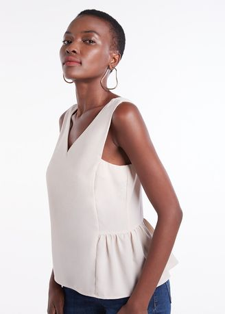 White color Tops and Tunics . Tank Top With Ruffle Hem -