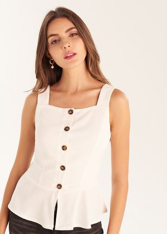 White color Tops and Tunics . Button Up Tank Top -