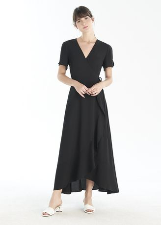 Dresses . Long Wrap Dress With Frill -