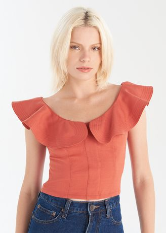 Tops and Tunics . Crop Top With Frill Shoulders -
