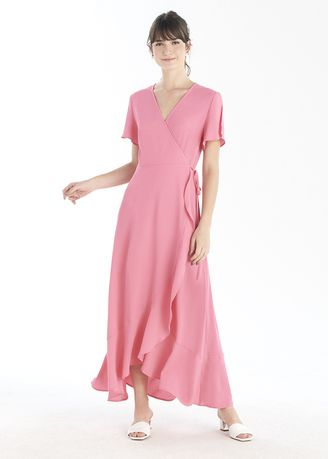 Pink color Dresses . Long Wrap Dress With Frill -