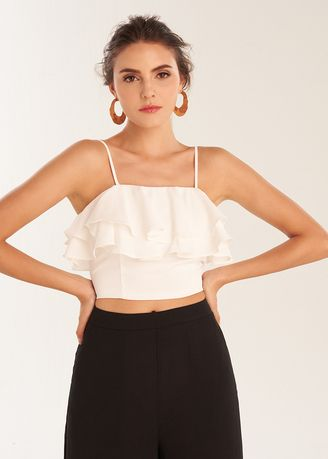 White color Tops and Tunics . Frill Crop Top -