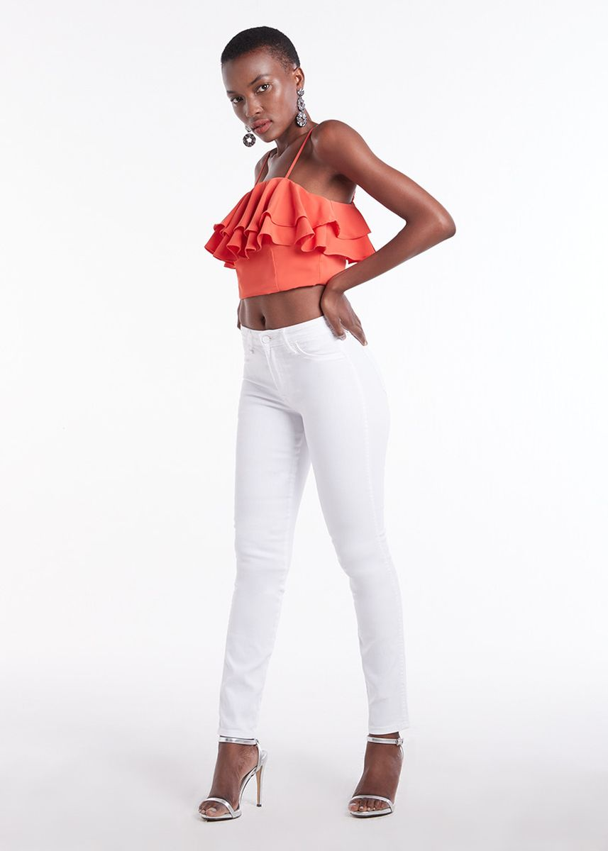Red color Tops and Tunics . Frill Crop Top -