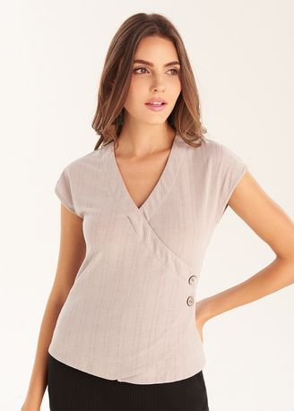 Light Grey color Tops and Tunics . Wrap Top With Buttons -