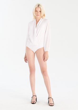 White color Tops and Tunics . Wrap Bodysuit -