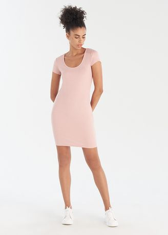 Pink color Dresses . Half Sleeves Mini Dress -