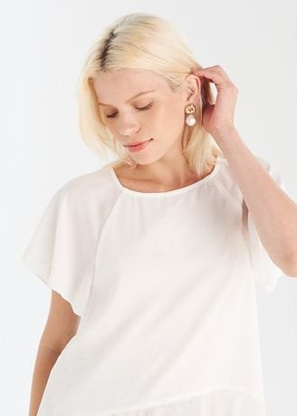White color Tops and Tunics . Short Sleeve Blouse -