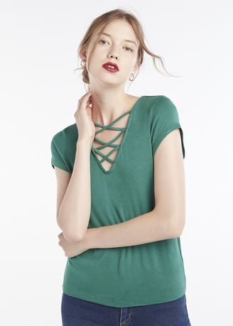 Green color Tops and Tunics . Lace Up Neck Top -