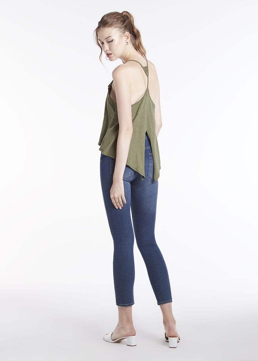 Olive color Tops and Tunics . Cami With Lace Neck -