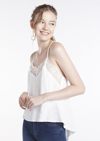 White color Tops and Tunics . Cami With Lace Neck -