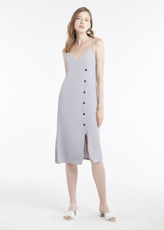 Light Grey color Dresses . Midi Front Button Up Strap Dress -