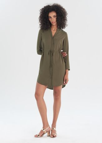 Olive color Dresses . Shirt Dress With Sleeves -