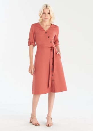 Dresses . Long Sleeve Button Up Wrap Midi Dress -