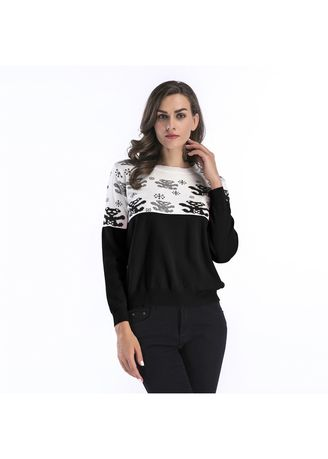 Black color Tops and Tunics . Colour Matched Printed Turtleneck Sweater -