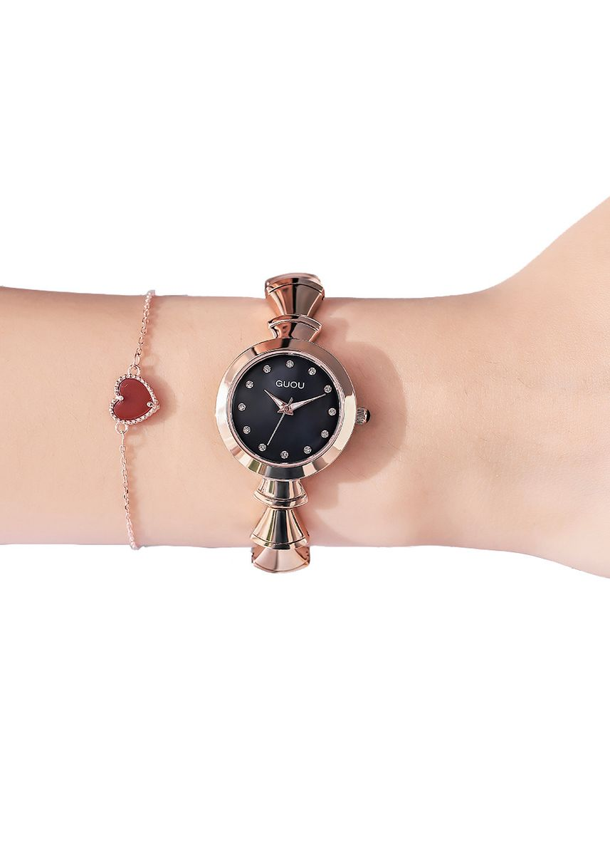 Black color Analog . Simple but Stylish Lady Wrist Watch -