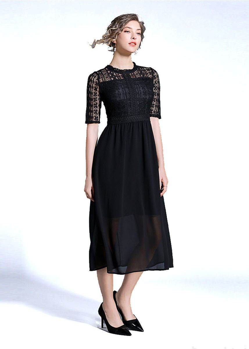 Black color Dresses . Women's Elegant High Quality Lace Paneled Chiffon Maxi Dress -