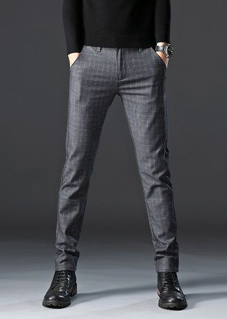 Casual Trousers and Chinos . Men Casual Checks Trousers Micro Elastic -