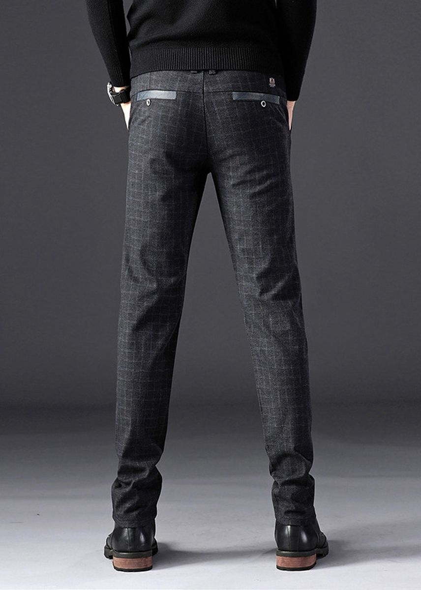 Black color Casual Trousers and Chinos . Men Casual Checks Trousers Micro Elastic -