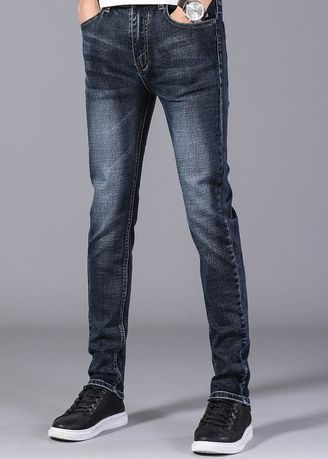 ดำ color ยีนส์ . Men Stretch Jeans Casual Pants -