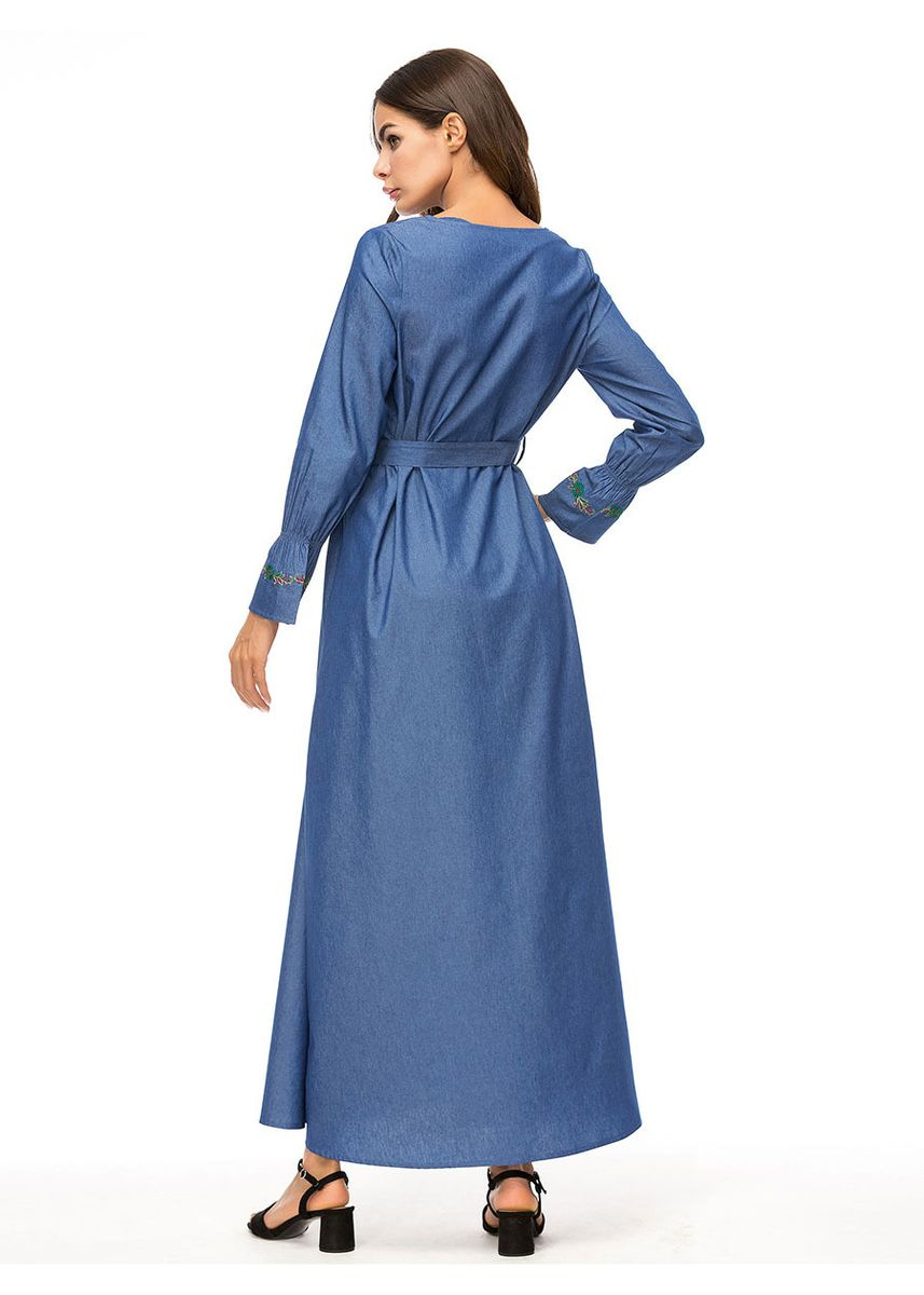 Blue color Dresses . Jeans Embroidery Long Skirt -