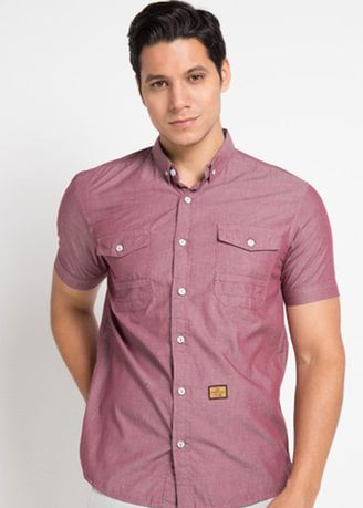 Pink color Casual Shirts . Emba Jeans Gera Two Men's Shirt in Burgundy -