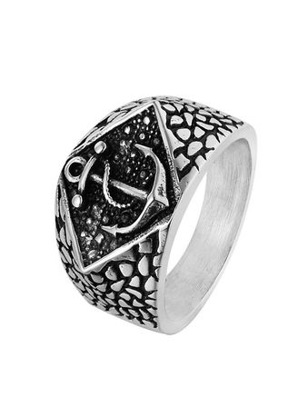 Silver color Rings . Navy Anchor Vintage Personality Men's Titanium Steel Ring -