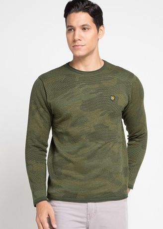 Hijau Olive color Sweater . Emba Jeans Waran Men's Sweater in Olive -