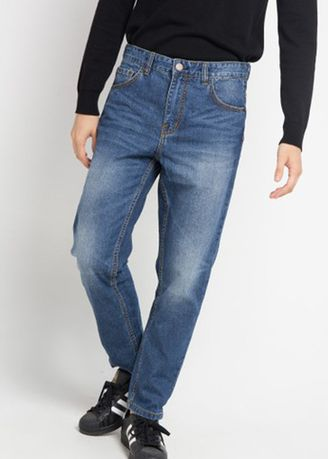 Blue color Jeans . Emba Jeans Montello Celana Denim Pria Warna Heavy Stone -