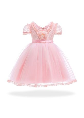 ชมพู color เดรส . Short Sleeve Pink Princess Dress Skirt -