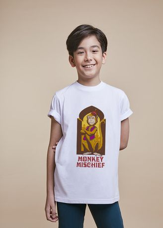 White color Tops . Official Monkey Mischief Yellow T-Shirt -