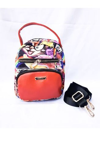 Multi color Ransel . Mini Backpack Black and Red Cats -