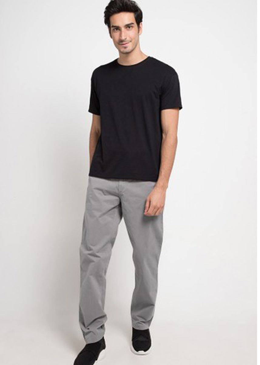 Grey color Casual Trousers and Chinos . Emba Classic Piecasso PFD Men's Pants in Dark Grey -