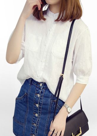 White color Tops and Tunics . ALIZ-IDOL New! Lady Cotton White Shirt -