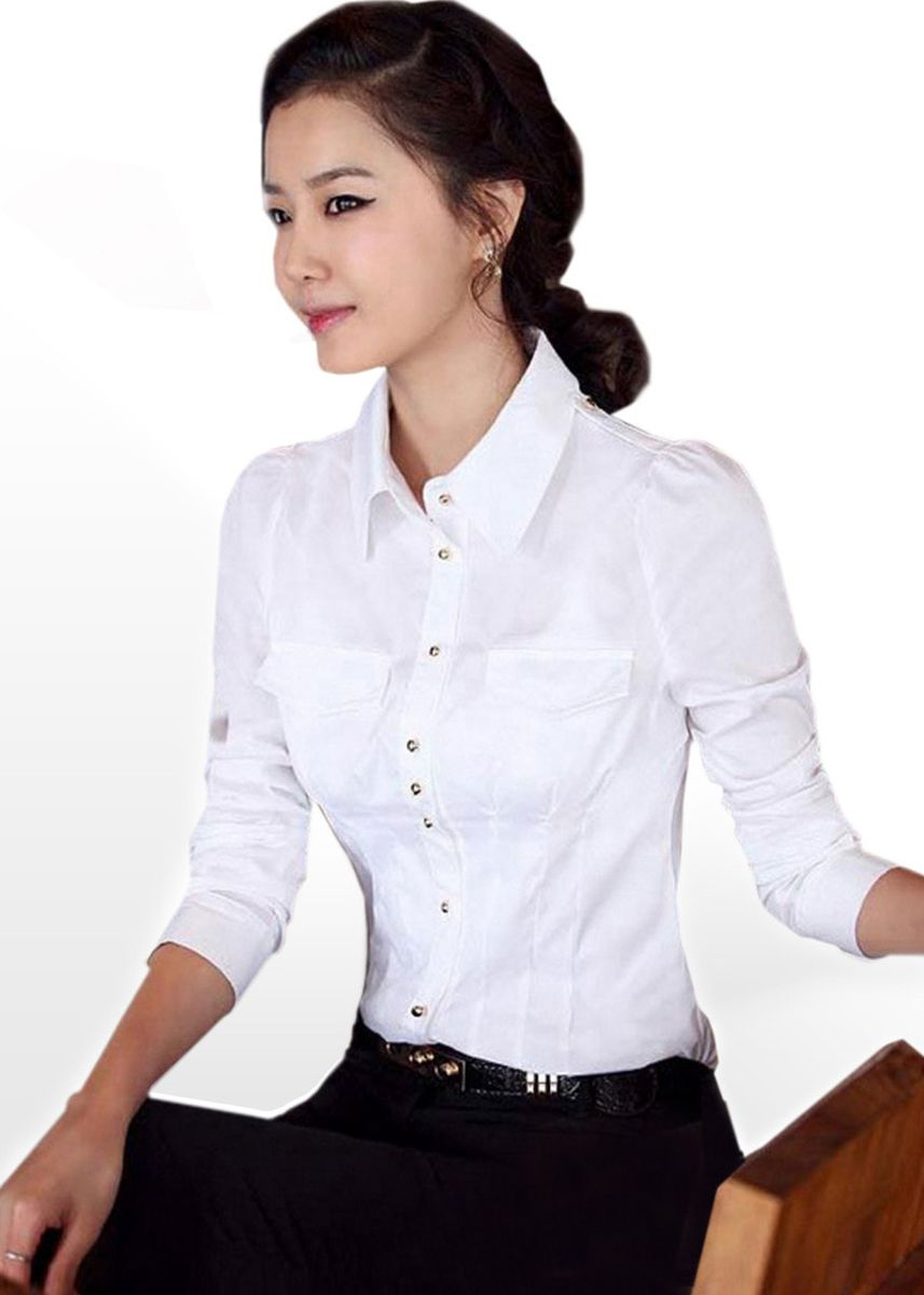 White color Tees & Shirts . ALIZ-IDOL Working Woman Classy Cotton Shirt - Gold Button -