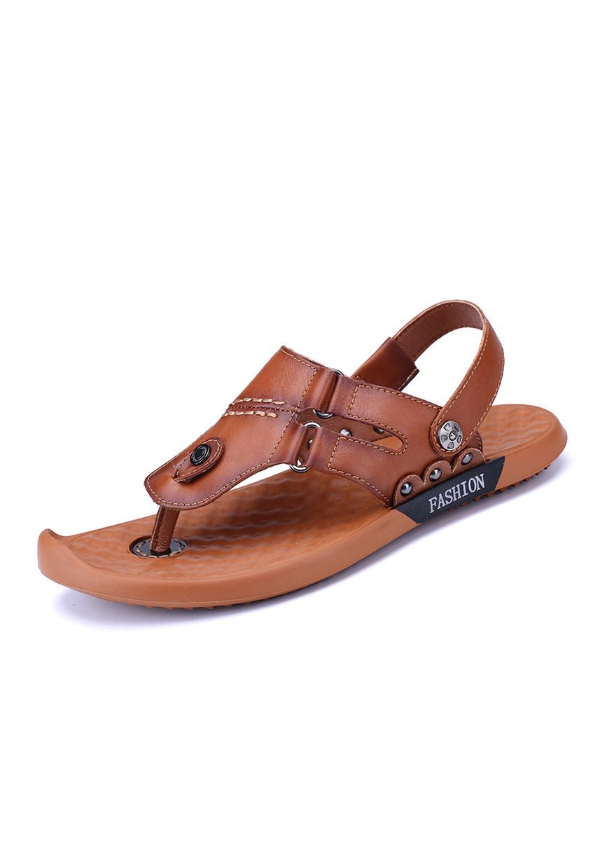 Brown color Sandals and Slippers . Bottom Non-slip Leather Sandals -