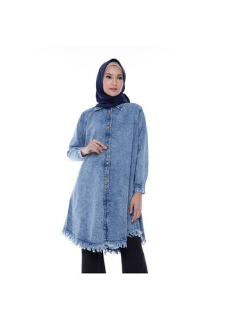 Atasan . Valen Blue Jeans Washed Tunic -