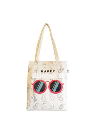 White color Hand Bags . Serendipity Alina Tote Bag - Happy Summer -