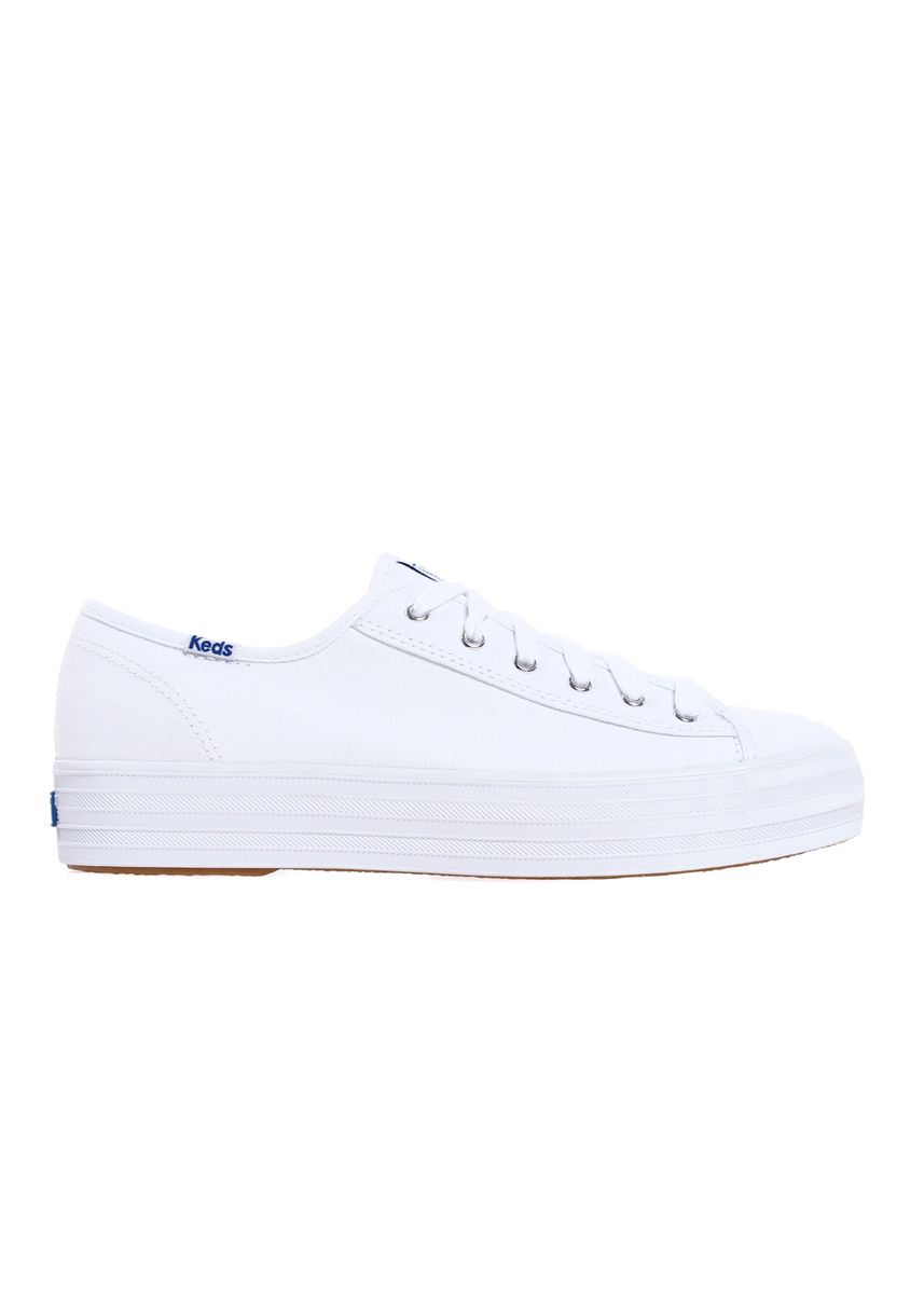 White color Casual Shoes . Keds Triple Kick Canvas Lace-up Sneakers -