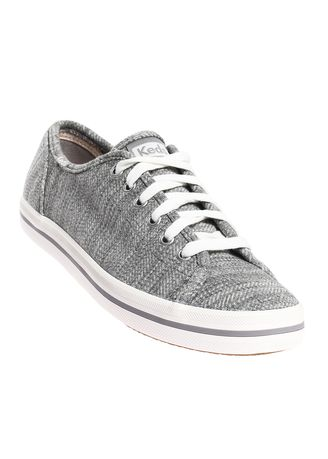 Grey color Casual Shoes . Keds Kickstart Twill Stripe Jersey Lace-up Sneakers -