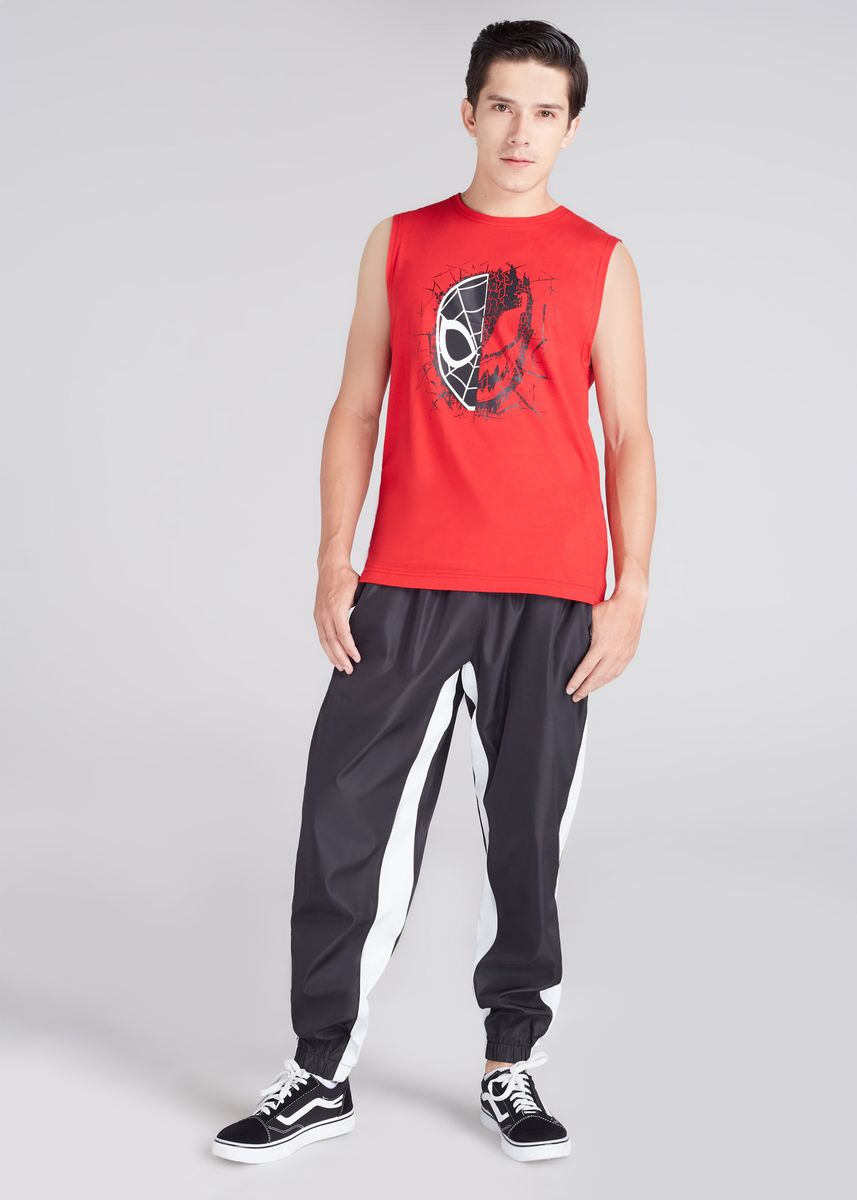 Red color T-Shirts and Polos . Official Marvel's Spider-Man Duo Print Tank T-shirt -