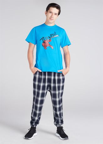 Blue color T-Shirts and Polos . Official Marvel's Spider-Man Web Slogan Print T-shirt -