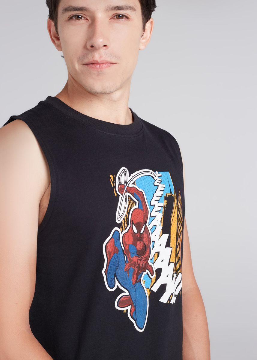 Black color T-Shirts and Polos . Official Marvel's Spider-Man Print Tank T-shirt -