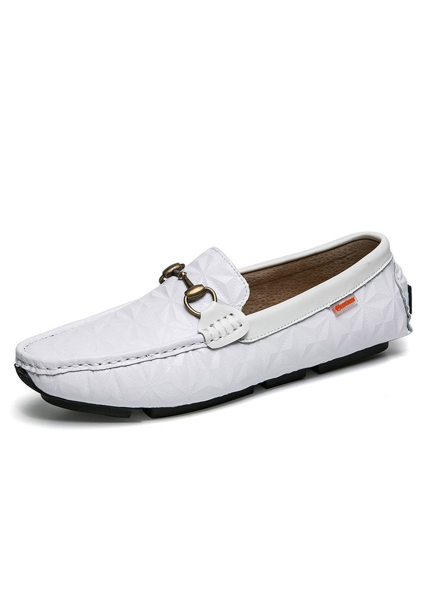 White color Casual Shoes . Men's Fashion Embossed Driving Loafers -