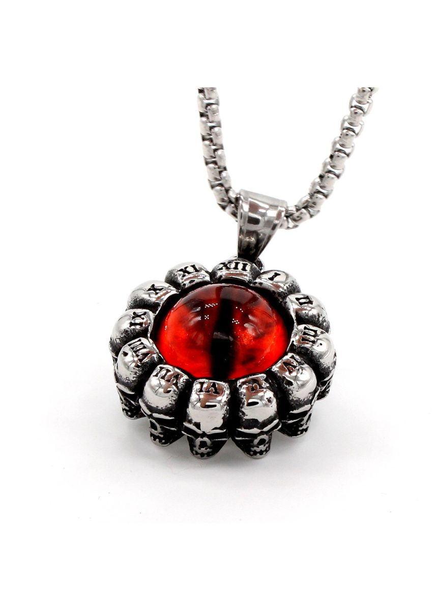 เงิน color สร้อยคอ . Shantou Roman Devil's Eye Men's Titanium Steel Pendant -