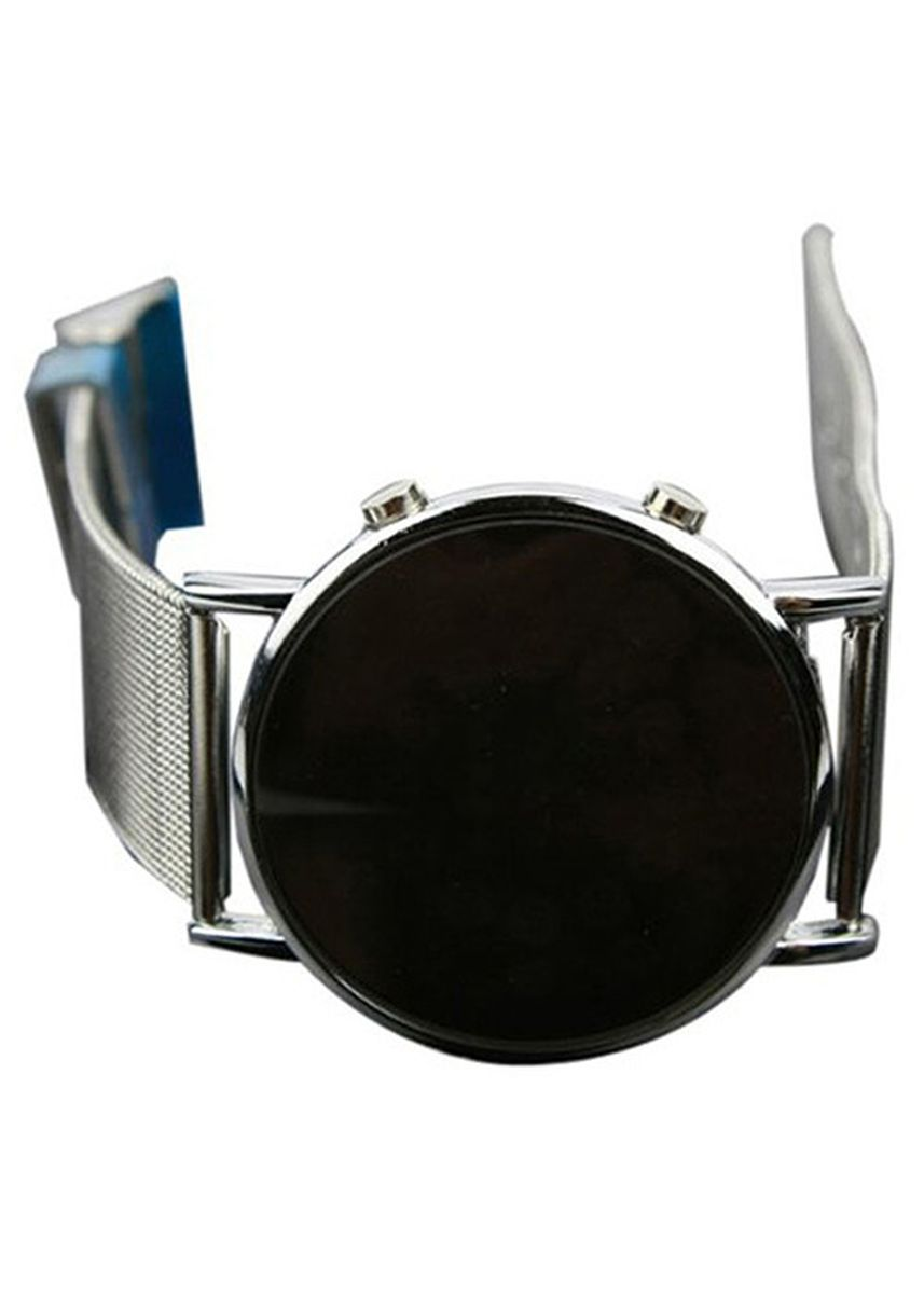 Silver color Digital . Round Mirror Blue Circles Alloy Watch -
